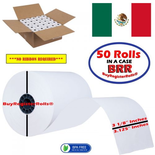 3 1/8 x 230 thermal receipt paper 50 rolls – Made in Mexico BPA Free Paper