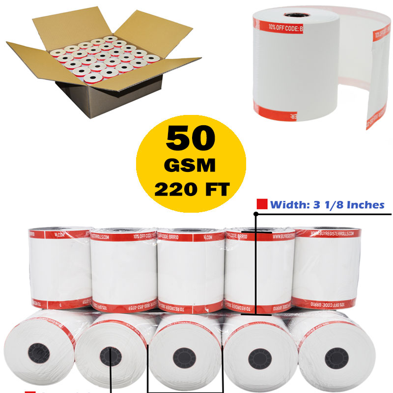 (50 GSM Core) 3 1/8 x 220' thermal receipt paper 50 rolls