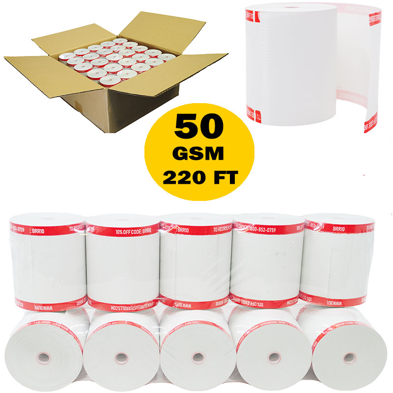 3 1/8 x 220 thermal paper roll 50 pack Bpa Free Paper for TM-T88III, TM-T88IV, TM-T88V, TSP100, CT-S300, CT-S2000, M129B, M129C