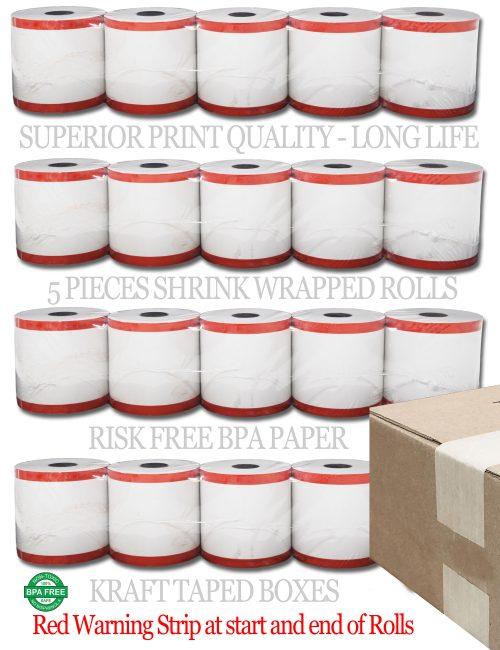 Shrink Warp 3 1/8 x 230' thermal receipt paper 50 rolls | Clover Station POS Thermal Paper Rolls | 15% More Paper | Free Shipping